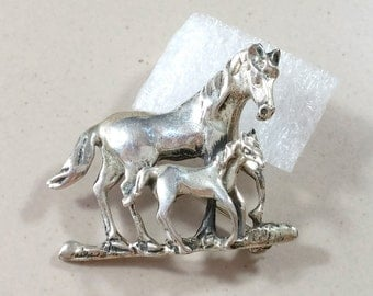 Vintage Sterling Silver Horse Pin Brooch Philly and Foal Western Americana Southwest Style Cowgirl Jewelry Western Wear Horse Lover Detail!