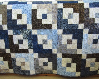 Handmade Quilt, Batik Quilt, Patchwork Quilt, Lap Quilt, Quilted Throw, Homemade Quilt, Sofa Quilt, Home Decor, Blue Brown Quilt
