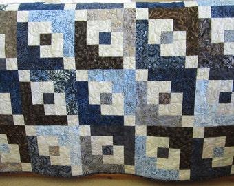 Handmade Quilt, Batik Quilt, Patchwork Quilt, Lap Quilt, Quilted Throw, Homemade Quilt, Sofa Quilt, Home Decor, Blue Brown Quilt