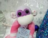 Paige the Purple Sock Monkey with Pink Swirls Stuffed Animal Toy