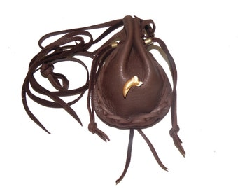Coyote claw and leather medicine bag totem