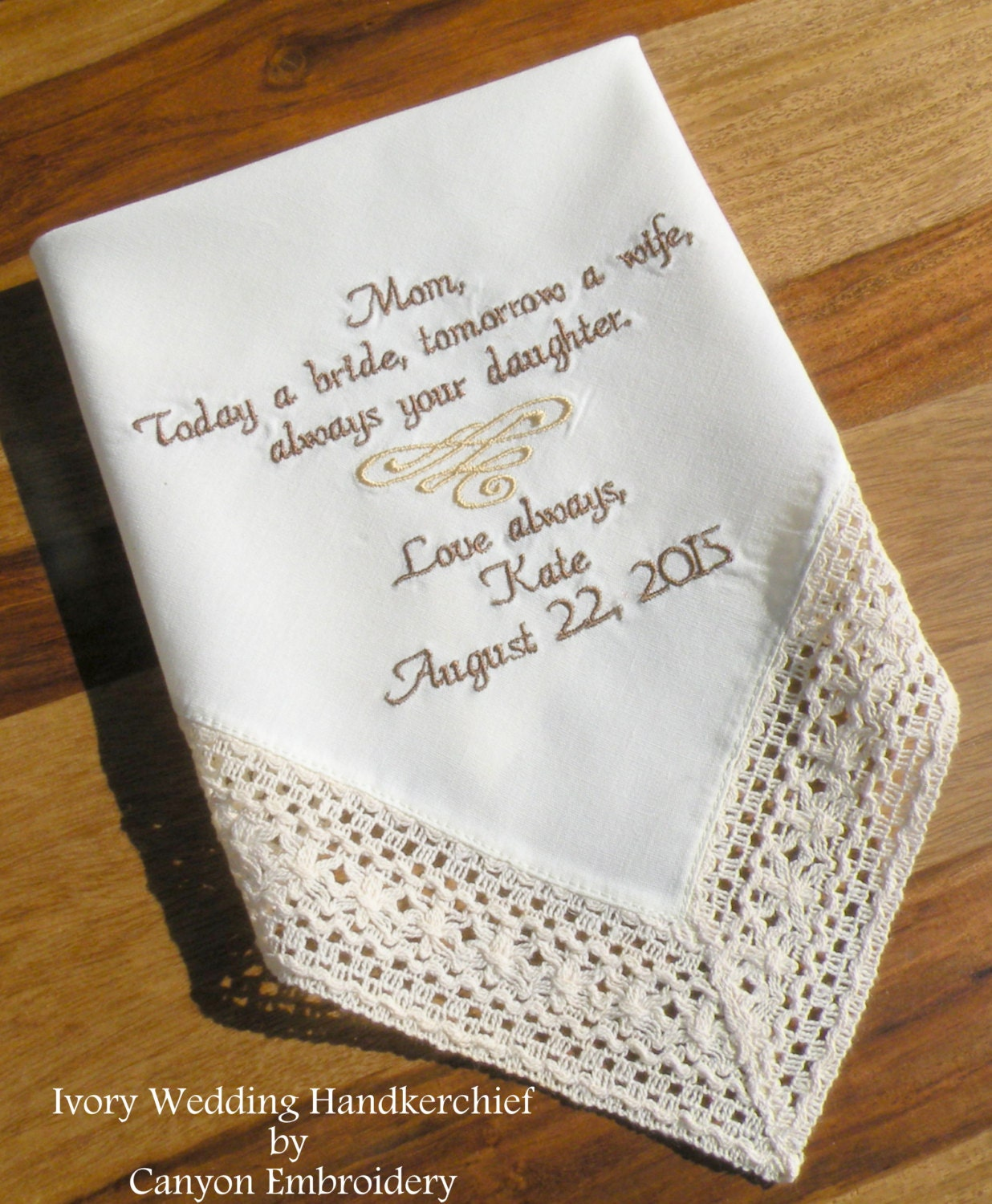 Ivory Wedding Hanky Mother Of The Bride Future Mother InLaw Mom Embroidered W