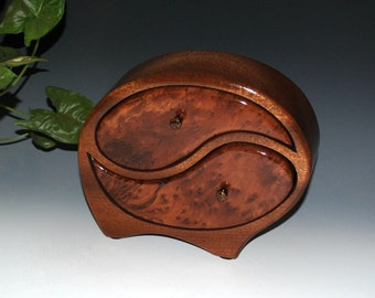 Handmade Wooden Yin Yang Jewelry Box in Mahogany with Redwood Burl - Wood Jewelry Box, Wedding Gift Box, Handmade Jewelry Box, Wooden Boxes