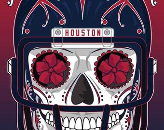 Houston Texans Sugar Skull 11x14 Print