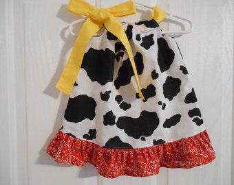 Toy Story theme Pillowcase dress costume cow print bandana infant through 7/8 years