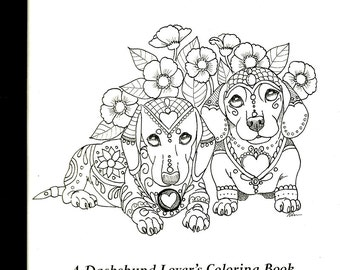 dachshund coloring book etsy no
