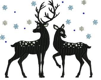 Winter Reindeer embroidery