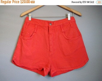 20% Off FALL SALE Red High Waisted Denim Shorts Vintage Jean Shorties Medium