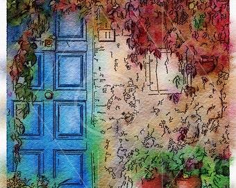 Printable Art, Instant Download, DIY Print At Home, Art Print, Watercolor, Tuscany, Italy, Blue Door, Red, Green,