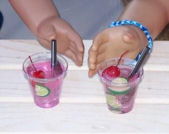 2 Drinks for American Girl or other 18in. doll water w/ lemon, cherry slush, milk, lemonade, chocolate milk, cherry limeade, cola, soda