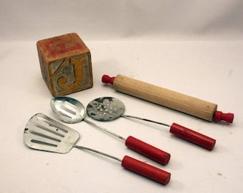 Vintage Toy Kitchen Utensil Set Red Handles Slotted Spatula Spoons Wood Rolling Pin