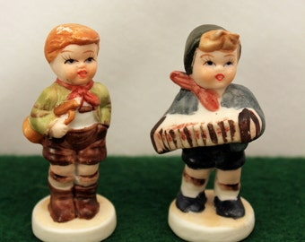 Miniature Hummel Style Figurines German Boy Musicians Bisque Porcelain 2 inch