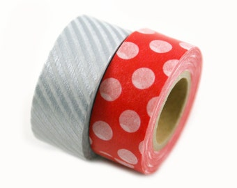 MASTE Japanese masking tape set - metallic silver stripe and red polka dot - Japanese washi tape