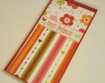 Pink Green Brown and Orange Flower Power Hearts and Stripes Reporters Notebook with Butterflies - Best Friends