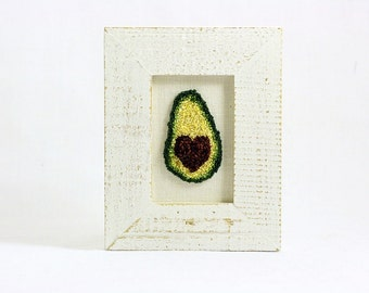 Avocado with Heart Pit in a Mini Weathered White Frame. Punchneedle Embroidery Fiber Art. Office, Kitchen Decor. Green, Brown. Dietitian