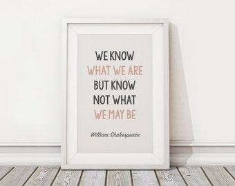Printable Vector Art - Inspirational William Shakespeare Quote