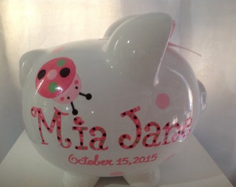 Personalized Large Piggy Bank Lady Bugs and Flowers-Newborns , Girls , Baby Shower Gift Centerpiece