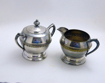 Sugar Bowl & Creamer - Silver Plated - Rope Design With Scrolls
