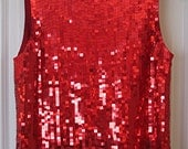 Vintage Red Squared Sequin Top/Shell by Valerie Stevens/Med.
