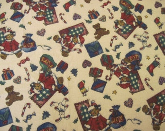 Christmas Print Flannel Fabric 1 3/8 yd Faye Liverman Burgos for Marcus Bros.