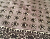 Gray and Black Medallion Vintage Hand Rolled Silk Pocket Square