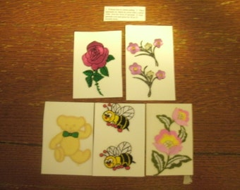 5 Iron-Ons Appliques Flowers Teddy Bear and Bees