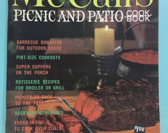 Picnic and Patio Cookbook, 1965 McCalls, Full Color Photos and Retro Illustrations, Mid Century Modern Recipes, Outdoor Party Recipes