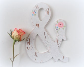 Wooden Ampersand Sign Wedding Ampersand Monogram Hand Painted Flowers Floral Wall Art Nursery Decor