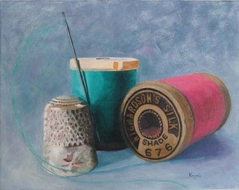 "Sewing Room giclee print of original acrylic painting - ""Needle and Thread"" - Antique Spools and Thimble"