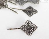 Antique Bronze Diamond Shaped Filigree Bobby Pin Blanks (10 pces)