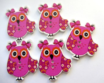Fuchsia Owl Buttons Wood 2 Hole Buttons 5 pcs
