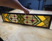 RESERVED LISTING for Erin C - Sidelight Stained Glass Panel - Transom - Prairie Style