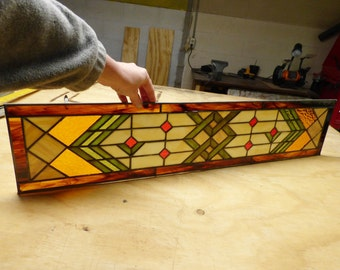 Sidelight Stained Glass Panel - Transom - Prairie Style