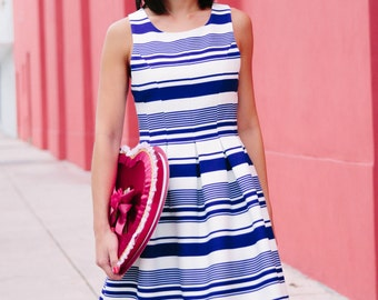 Blue and White Striped Summer Backless Dress Valentine's Date Night