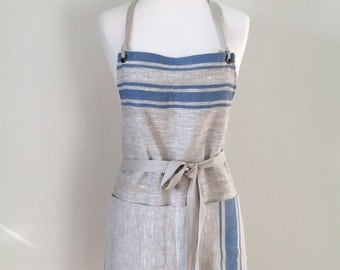 Full Apron Woman Lithuanian Rustic Blue Stripe Kitchen Cook Chef