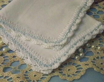Blue Handkerchief, Hanky, Hankie, Hand Crochet, Something Blue, Bridal Keepsake, Personalized, Monogrammed, Embroidered, Scalloped,