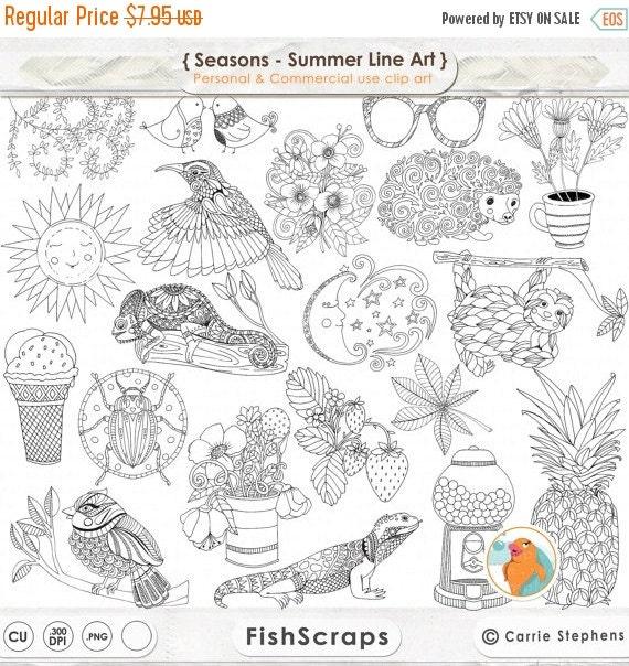 Line Art Etsy : Sale summer line art bundle season s png by fishscraps on etsy