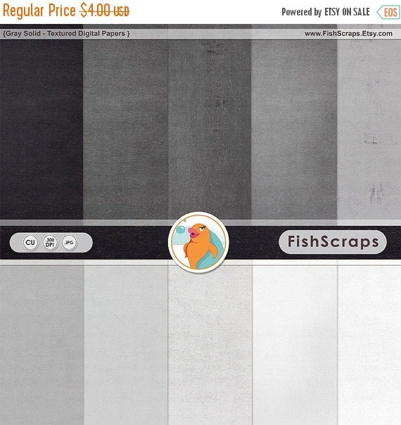 SALE - Shades of Gray Digital Paper, Solid Grey Background, Light Linen Texture Cardstock, Silver Anniversary Invitation, White & Black