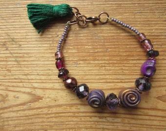 Purple Beaded Tassel Bracelet, Anthropologie Style Bracelet, Purple Stacking Bracelet, Layering Bracelet, Tassel Jewelry, Upcycled Jewelry