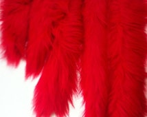"RED Faux Fur Tail - One High Quality 4"" pile RED Faux Fur Tail - sizes 10"" , 12"" , 19"" , 20"" or 24""  - Clip on Fur Tail -Elmo Tail"