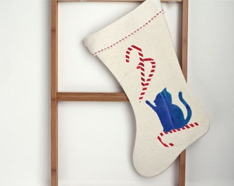 Cat Christmas Stocking, cat with candy canes. Organic hemp, eco friendly and modern christmas decor