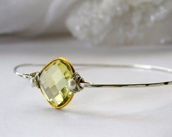 Citrine Bangle. Sterling Silver Stackable Bangle. Citrine and Pearl Bracelet. Made in Made. Boutique quality. One of a Kind. Skinny bangle
