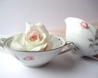 Vintage Noritake Rosemarie Pink Gray Rose Cream and Sugar Set