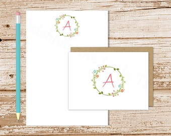 personalized stationery set . floral wreath notepad + note card set . initial . womens notecards note pad . botanical stationary gift set