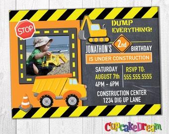 Construction Birthday Invitation, Dump Truck Birthday