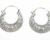 Filigree  Sterling silver hoop earring, lace silver earrings, silver hoops, gift for her