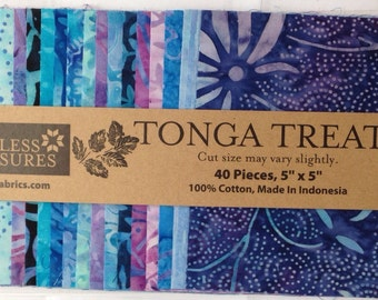 "Tonga Treats Reef Charm Pack 5"" Squares from Timeless Treasures With Free Pattern"