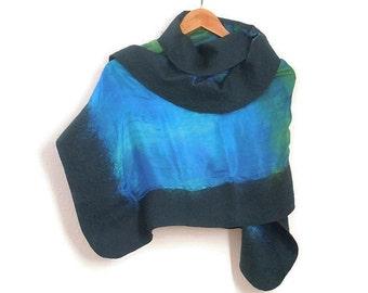 felted silk shawl, blue green
