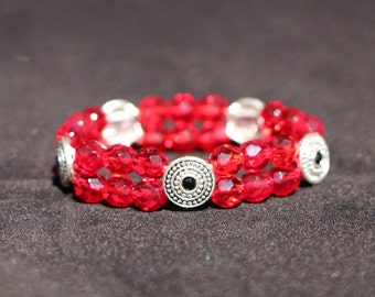 Red Black and Silver Accent Beaded Bracelets Elastic Stacking Bracelet