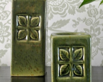 Set of TWO (2) Olive Green Candle Holders-Leaf Motif-Vintage-Ceramic-William Morris Style, Prairie Style